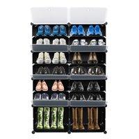 USA STOCK 7-Tier Portatile 28 paio Plastica Scarpe da scarpe Organizzatore 14 Grids Tower Shelf Scatole Armadio Stand Espandibile per tacchi, stivali, pantofole, nero