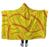 Baseball Hooded Blankets 150*130cm air conditioning Blanket Hooded Bath Towel Soft Winter Sherpa Fleece Throw Blankets LLE7544