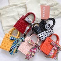 Luxury kids Silk scarves handbag fashion Children bowknot chain one shoulder bag designer women mini purse messenger bags V496