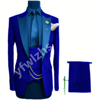 Customize One Button Handsome Peak Lapel Groom Tuxedos Men Suits Wedding Prom Dinner Man Blazer(Jacket+Pants+Tie+Vest) W896