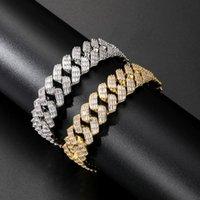 17mm Miami Baguette Zircon Prong Set Box Clasp Cuban Bracelet For Men Hip Hop Iced Out Bling Rapper Jewelry 2021 Link, Chain