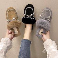 Slippers Female Shoes Ladies' Cover Toe Flock Luxury Slides Platform Low Mules For Women 2021 Flat Designer Soft Fashion Bas