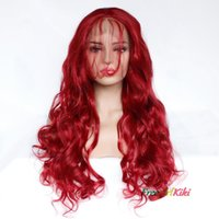 28 Inch Red Color body weave synthetic wig Lace Front for lady woman in soft handfeeling and wholsale wig