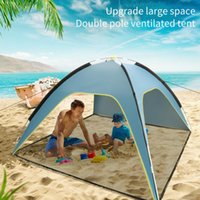 Tents And Shelters 3-4 Person Large Gazebo Sun Shelter Camping Tent Beach Automatic Open Up Family For Outdoor Hiking