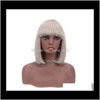 Capless 제품 드롭 배달 2021 Sier Grey ombre 짧은 인간의 머리카락 밥 가발 흑인 여성을위한 컬러 회색 픽시 브라질 REM