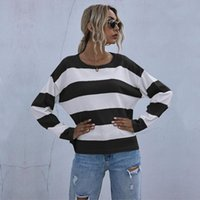 Women's Sweaters Knitted Striped Sweater Loose Style Long Sleeve Pullover Streetwear Blue Black Green Patchwork O-Neck Winter 2021
