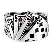 Vintage Playing Card Chunky Rings Cubic Zirconia Engraved Cuff Ring For Men Jewelry