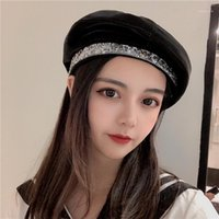 Luxury Designer Leather Beret Hats for Women French Baret Hat With Rhinestones Band Ladies PU Painter Octagonal Hats Bonnet Cap1