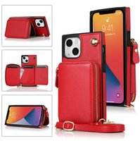 Crossbody Chain Wallet Case for Samsung S21 Ultra S20FE S20 Plus S10 S10E S9 Note20 Note10 Pro Note9 A90 5G Multiple Card Slots Zipper Purse Back Cover