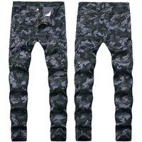 New Mens Jeans macacão camuflagem Calças de brim Slim Slim Fit Long Denim Blue Hip Hop Calças Lápis Calças para Masculino