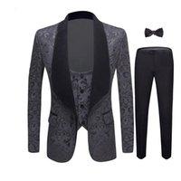 Men's Suits & Blazers 2021 4 Pieces Set Wedding Groom Shawl Lapel Jacquard Tuxedo Pink Yellow Black Red Pure White Slim Fit Prom Dress Men