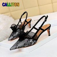 Dress Shoes High Quality Women's Fashion Pumps Sexy Mesh Hollow Out Heels Banquet Strap Lace Women Sandals Summer 2021 CALLITON