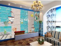 Wallpapers Custom 3d Po Wallpaper Bed Room Mural Sea Starfish Shell Wood Wall Kids Background Non-woven For