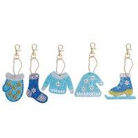 5pcs 행복 한 새 해 블루 시리즈 모자 장갑 새로운 5D 다이아몬드 그림 만화 키 체인 DIY 세트 다이아몬드 자수 크리스마스 선물