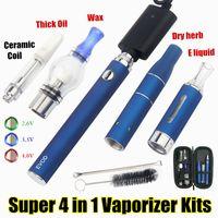 Super 4 in 1 Starter Kit eGo 510 Vape Battery EVOD Dab الأقلام الجافة Herb Vaporizer زيت الشمع Vapes UGO Passthrough CE3