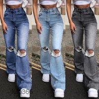 Pantalons Femmes Capris 2021 Mode Denim large Pantalons de jambe femme Femmes Sexy déchiré Bootcadcut Jeans Harajuku Streetwear Automne Bouton Casual Lulu365