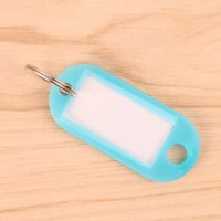 200 stücke Kunststoff Keychain Leere Schlüsselanhänger DIY Namensschilder für Gepäck Papiereinsatz Gepäckanhänger Mix Farbe Schlüsselanhänger Zubehör Ketten 654 K2