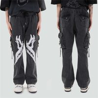 Patch Wings Multiple Bags Cargo Jeans Hip Hop Streetwear Casual Clothing Punk Rock Baggy Denim Mode Broek