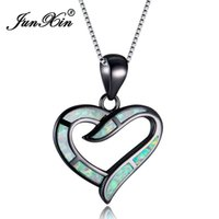 Colares de pingente Junxin amor infinito preto ouro charme colar romântico branco / azul fogo opala coração pingentes para mulheres presentes