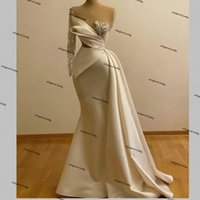 Beading Mermaid Evening Dresses real image white One Shoulder Long Sleeve Cutaway Sides Prom Dress Runway Party Gowns