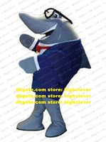 Gentlemanlike Grey Whale Cetacean Shark Mascot Costume Costume Fancy Dress con Bowknot Red Bowknot Pack Trans Blue Coat Camicia bianca No.7308