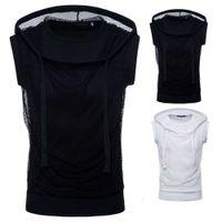 Summer tee Wear Fashion Mesh Hooded T-Shirt Muscle Men Sleeveless Crew Neck Hip Hop Top S-2XL Size