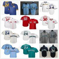 맞춤 남자 여성 청소년 키즈 빈티지 30 Ken Griffey JR Jr. 저지 청록색 명예의 명예의 전당 시애틀 야구 유니폼