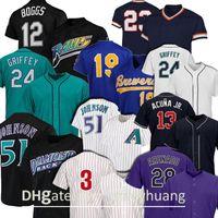 2021 Novo 28 Nolan Arenado 51 Randy Johnson 24 Ken Griffey Jr Jersey 12 Wade Boggs 19 Robin Yount 13 Ronald Acuna Jr. Jerseys de beisebol