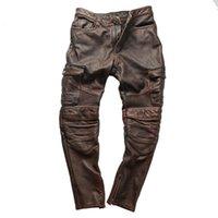 Pantaloni da uomo PK3 RockCanroll Super Qualità Super Quality Genuine Pelle Mucca Moto Rider Vintage Elegante pantaloni da moto in bicicletta in pelle di vacchetta 4 colori