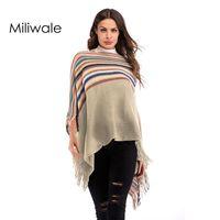 Fashion Winter Warm Vintage Striped Wraps Sweater Female Pullover O Neck Tassel Women Poncho Colors Bandanas