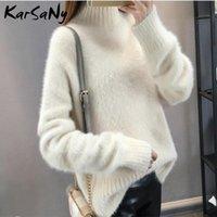 Suéteres de mujer karsany visón de invierno cachemire suéter grueso mujeres jumper blanco tirón femme flojo jersey tejido esponjoso para