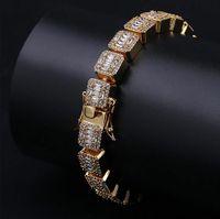 Mens 14K Gold Iced Baguette Diamonds Bracelet 10mm Bling Bling Bracelets with Locked Clasp Cubic Zircon Bracelets ZHL3487
