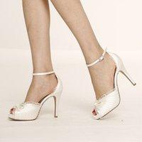 2021 new fashion women sandals peep toes platform wedding shoes white lace high heels ladies sapatos footwear plus size 45