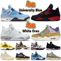 Più nuovo 4 4 s 4 s 4s scarpe da basket universitario blu bianco Oreo luccichio rosso tuono metallico viola taupe foschia nera gatto borsale maschi da uomo scarpe da ginnastica da donna