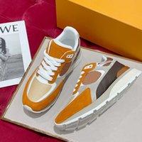 رجل يهرب أحذية رياضية من جلد الغزال العجل جلد المرقعة البرتقالي للجنسين أحذية عداء الصفراء مصمم حذاء رياضة عارضة الأحذية الرياضية NO286