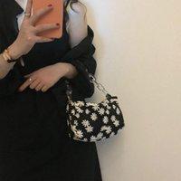 Duffel Bags Korea Women Underarm Bag Ladies Baguette Chain Small Daisy Travel Vacation Hand Crossbody Fashion #40