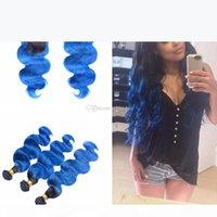 ombre 푸른 인간의 머리카락 3 묶음 레이스 클로저 4x4 어두운 뿌리 1B 파란색 바디 웨이브 헤어 워치 폐쇄