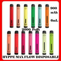 Hyppe Max Fluxo 2000Puffs Dispositivo de Vape Descartável E Cigarro 6ml Cartuchos Pré-repleto PODs 900mAh Bateria Airflow Ajustável Vaporizador Plus Alphaa Onee vs Puffl