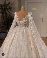Luxury Ball Gown Pearls Wedding Dresses Lace Appliqued Beaded Sheer V Neck Dubai Arabia Bridal Gowns Vestidos De Novias