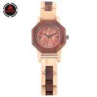 Wristwatches REDFIRE Retro Roman Numeral Dial Women's Watches Quartz Movement Natural Maple Wood Bangle Wristwatch Trendy Female Wooden Watc