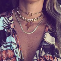Chokers Punk MultiLayers Statement Necklace Chain Big Cross Round Circle Chocker Gold Collier Femme Bijoux Boho Ketting Gift For Women