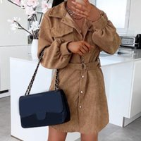 Women's Trench Coats Faux Wool Thin Button Lapel Coat Jacket For Women 2021 Ladies Slim Casual Long Overcoat Outwear