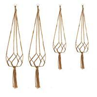 Hanging Basket Knotted Macrame Plant Hanger Hook Vintage Cotton Linen Flowerpot Lifting Rope Pot Holder