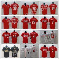 Mens 7 Eugenio Suarez 2021 Season Women Kids Reds Jersey 19 Joey Votto 14 Pete Rose 4 Shogo Akiyama Baseball Jerseys