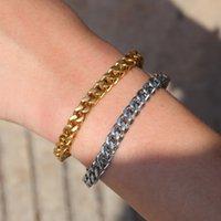 Mens Gold Bracelets Hip Hop Jeweley Gold Silver Plated Cuban Link 316L Stainless Steel Bracelet