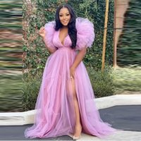 Puffy Sleeves Side Slit Tulle Prom Dress For Women Light Purple Plus Size Party Dress Birthday Dress For Photo Shoot Evening Gowns