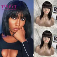 HAIR Straight Bob Human Wigs With Bang Brazilian Remy Wig Bangs No Lace Wigs1