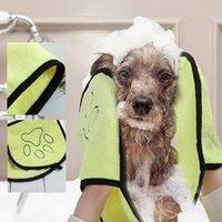 23 * 65 cm para cão de estimação toalha de banho de toalha de microfibra gato ultra-absorvente cães pequenos secar cobertor com bolso para grande roupão de banho