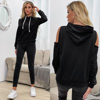 Women's Hoodies & Sweatshirts 2021 Solid Color Hooded Strapless Bottoming Sweater For Women In Autumn.