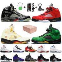nike air jordan 5 Con caja Jumpman 5 retro 5s off white Zapatos de baloncesto para hombre Uva alternativa de los patos de Oregon rojo fuego Zapatillas Deportivas